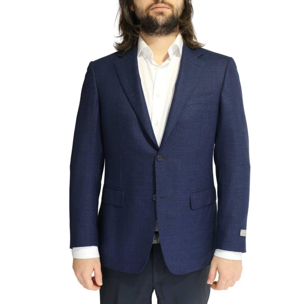 Canali jacket navy fine textured