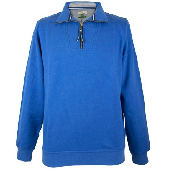 Fynch Hatton Casual Fit Organic Cotton Hoodie in blue front