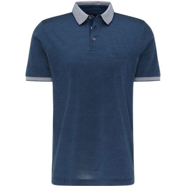 Fynch Hatton Mercerized Pinhead pattern Polo shirt Navy 1