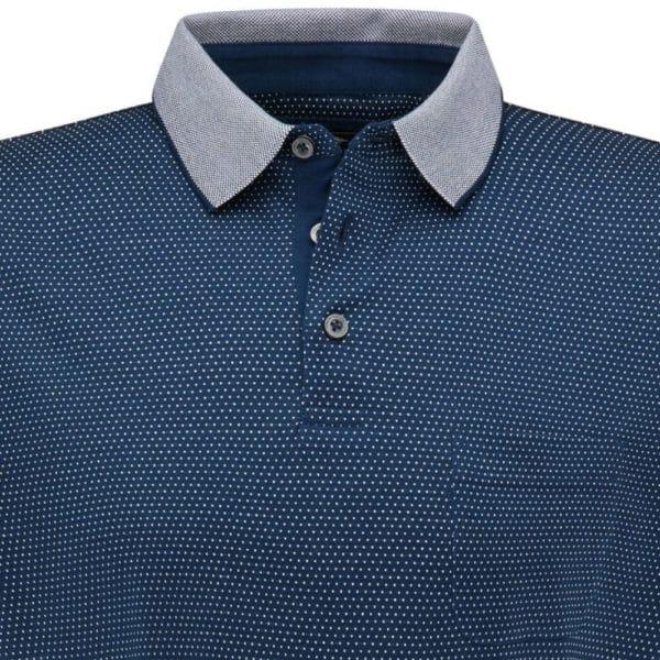 Fynch Hatton Mercerized Pinhead pattern Polo shirt Navy