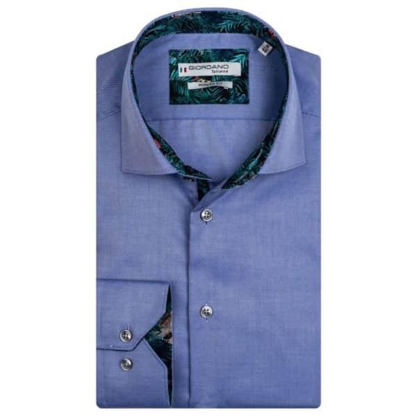 GIORDANO Blue fine twill Tropical Liberty print shirt