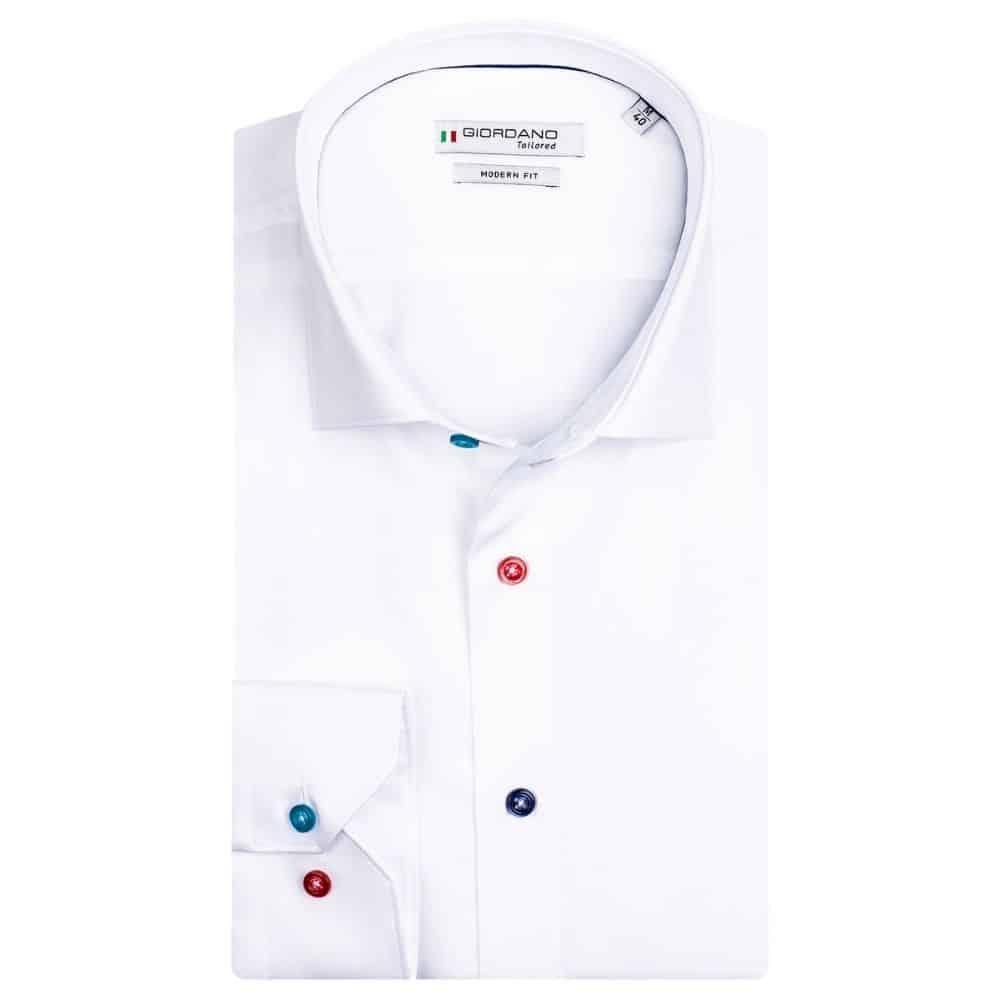 GIORDANO White fine twill multicolour button shirt
