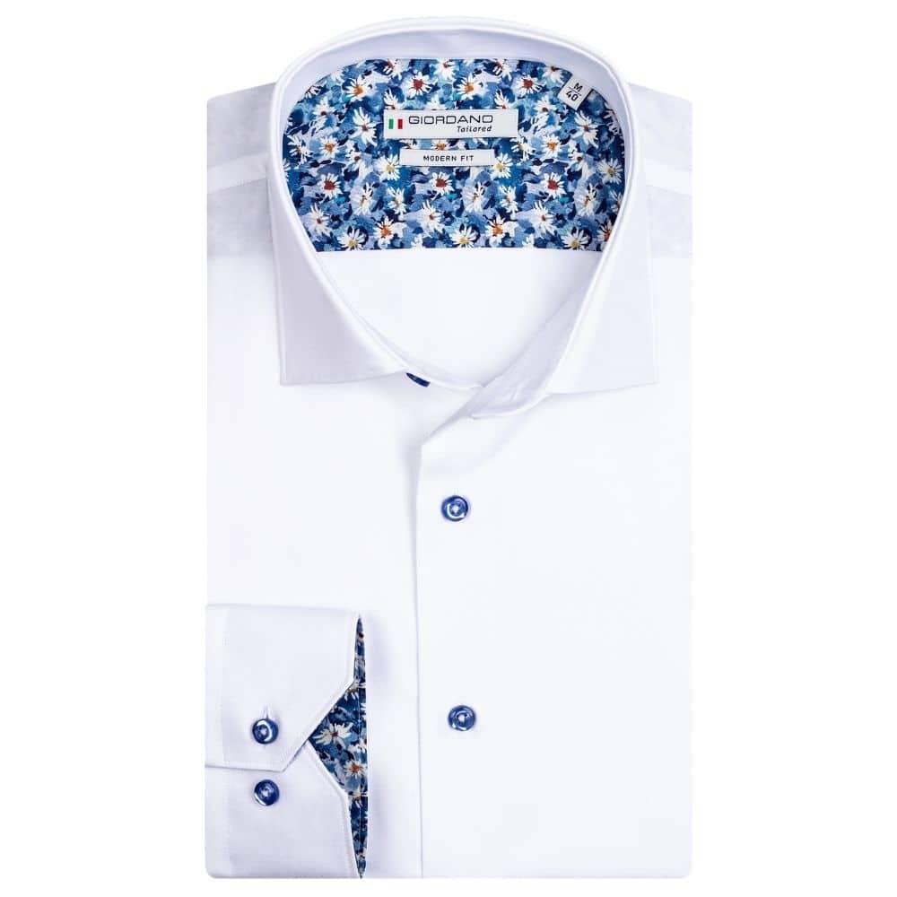GIORDANO White fine twill shirt with flower trim
