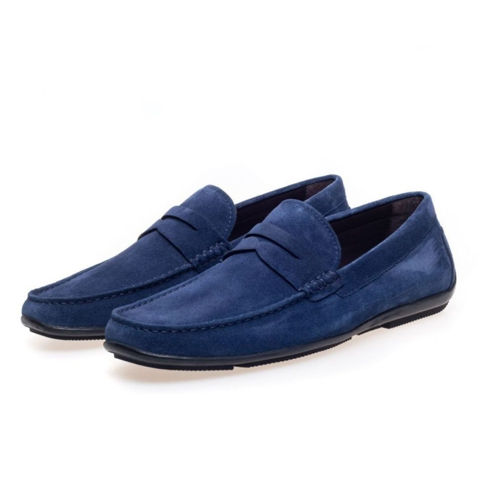 JOHN WHITE SORRENTO NAVY SUEDE DRIVING SHOES