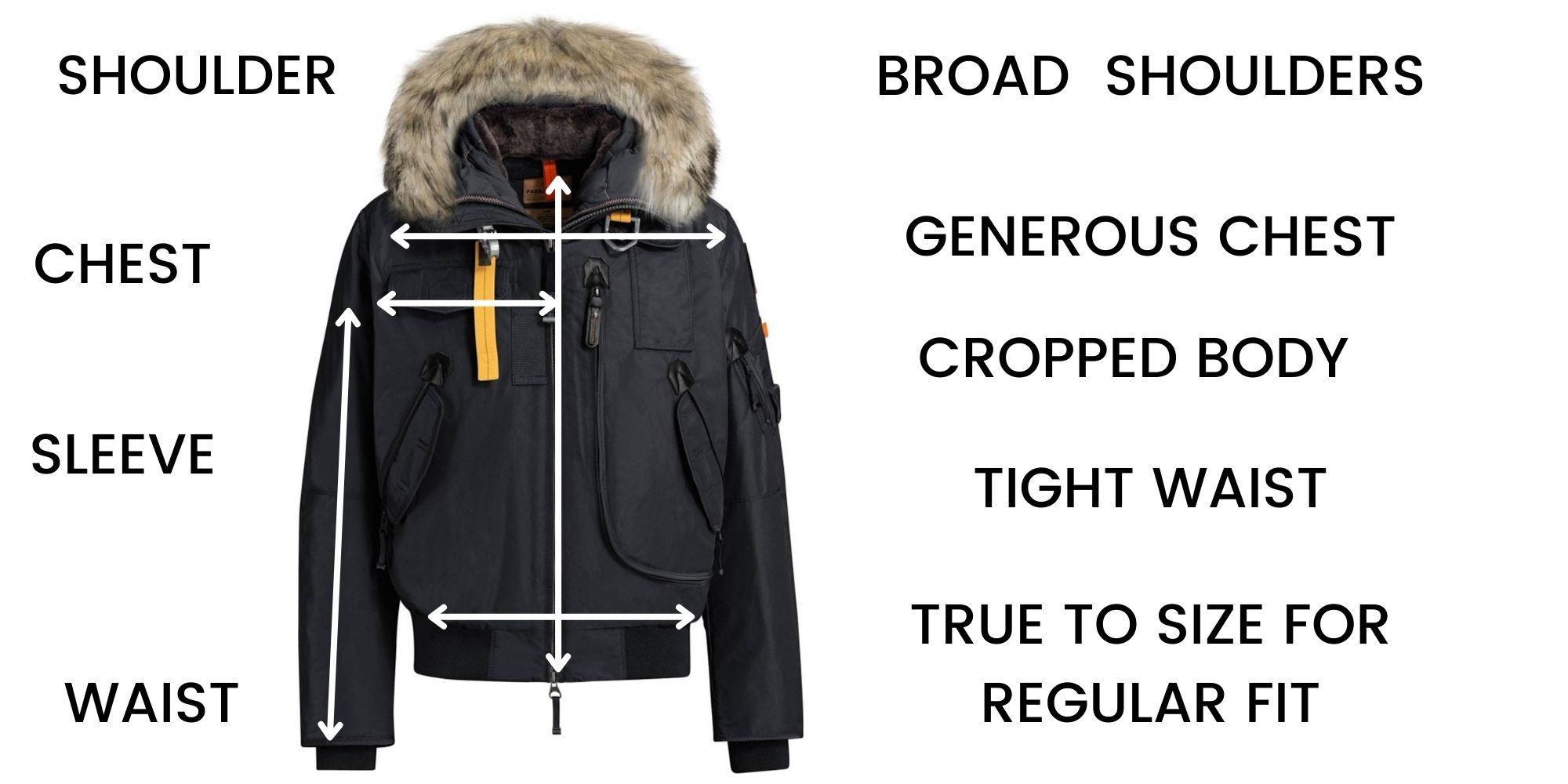 PARAJUMPERS GOBI SIZE CHART