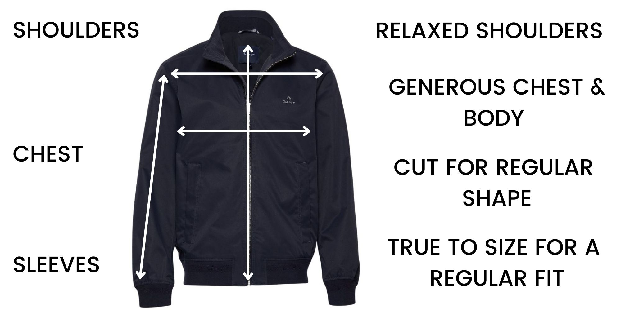 GANT casual jackets Size Chart