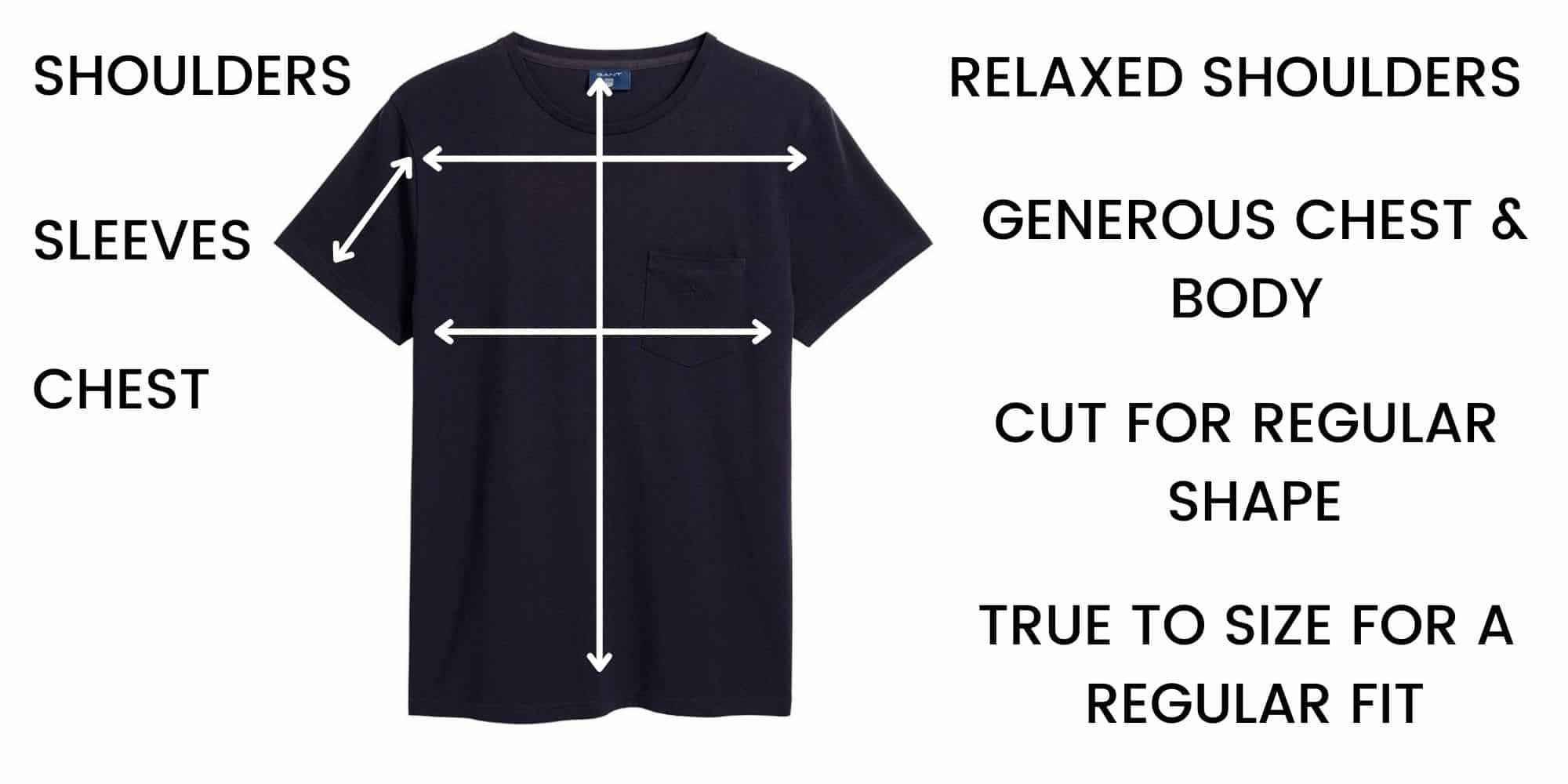 GANT t-shirt Size Chart