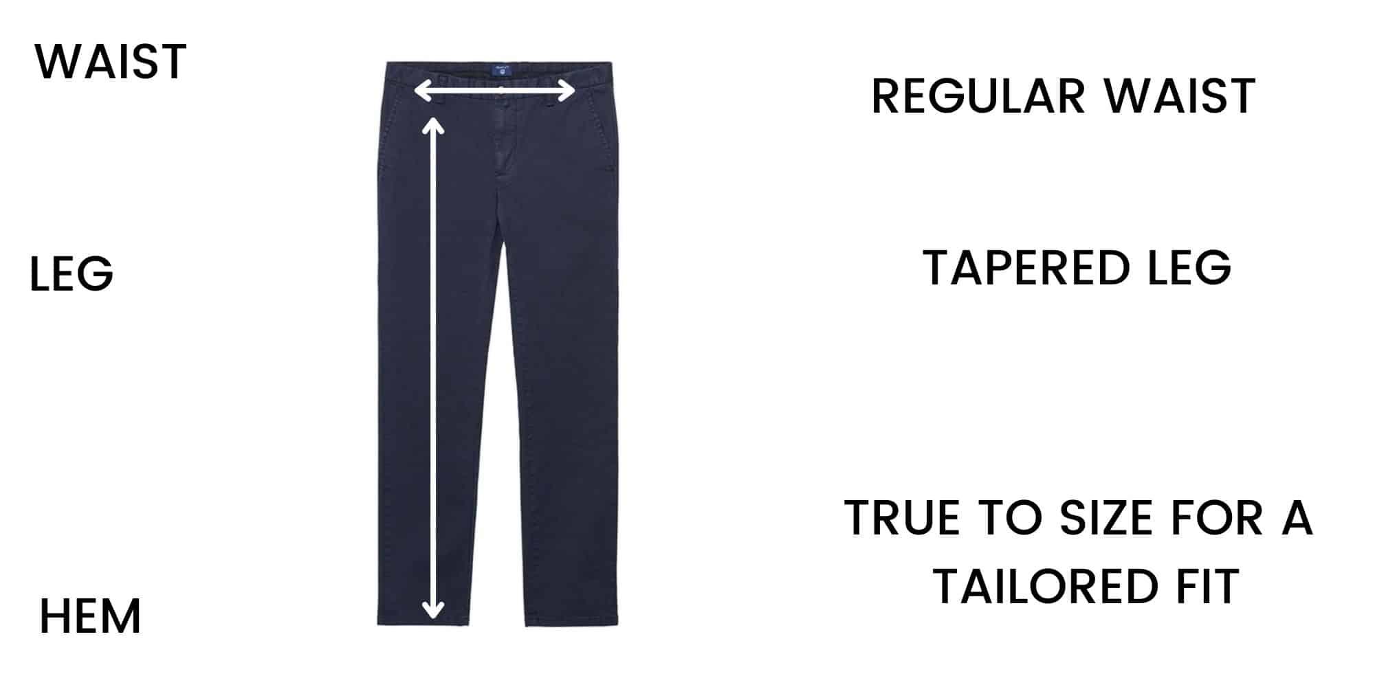 GANT trousers Size Chart