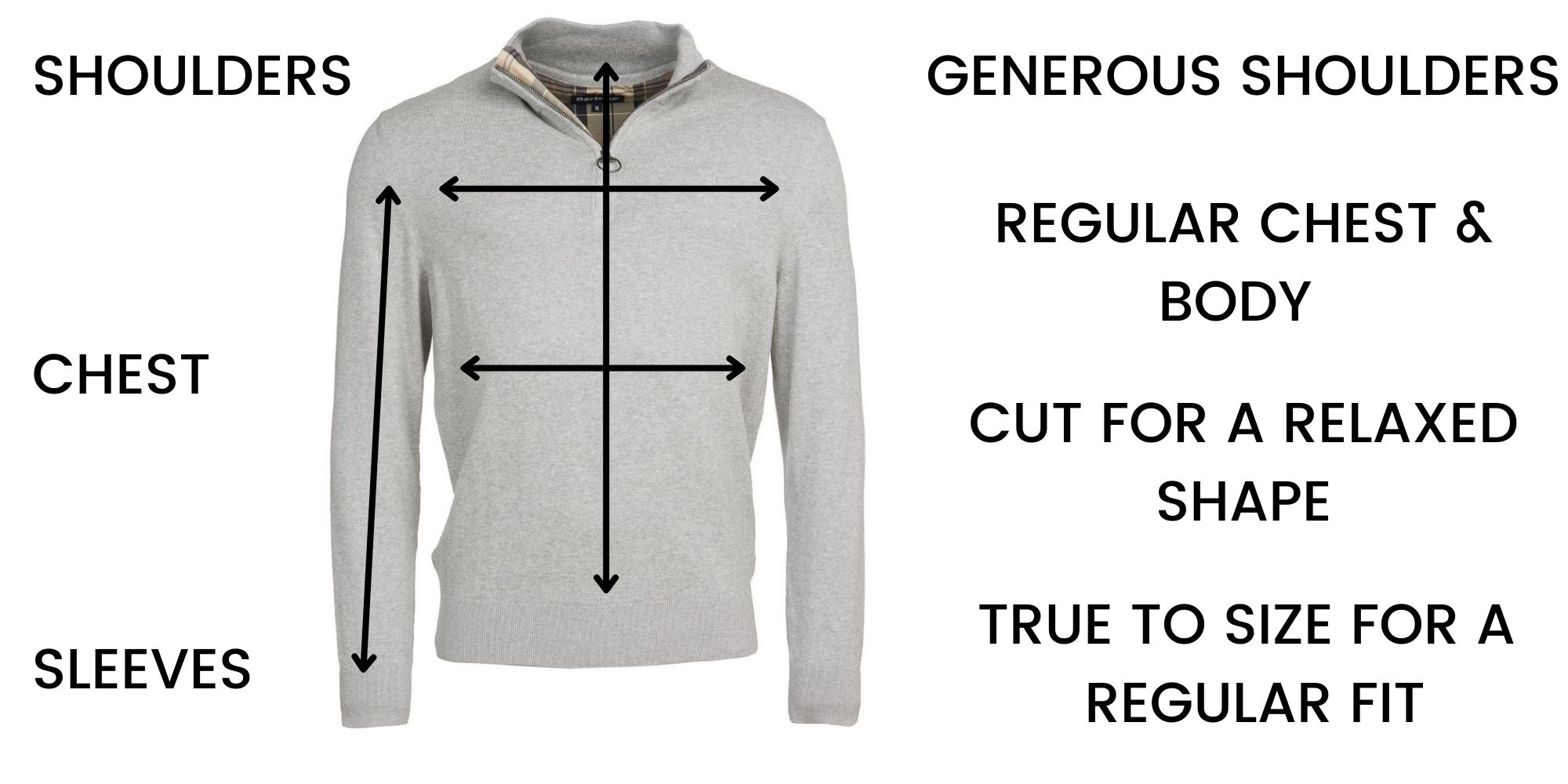 Barbour knitwear Size Guide