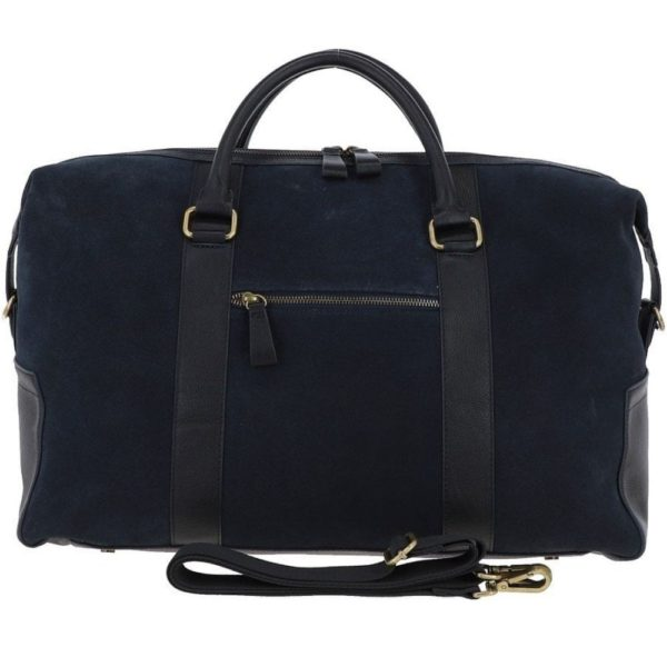 Ashwood Harington Navy Suede and Leather Holdall 1