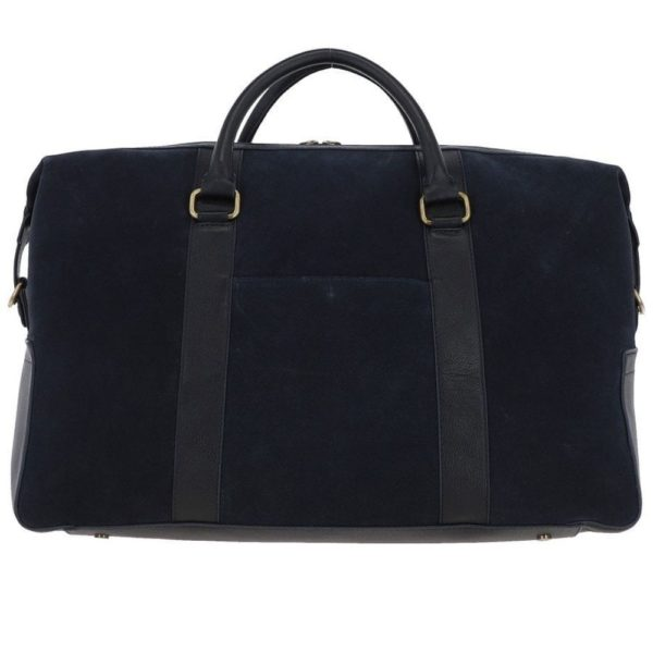 Ashwood Harington Navy Suede and Leather Holdall 2