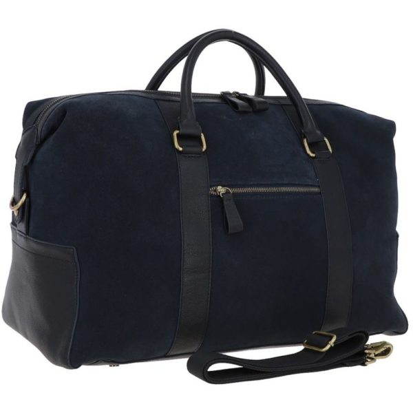 Ashwood Harington Navy Suede and Leather Holdall