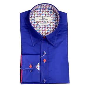 CLAUDIO LUGLI NAVY SHIRT WITH HOUNDSTOOTH INSERT