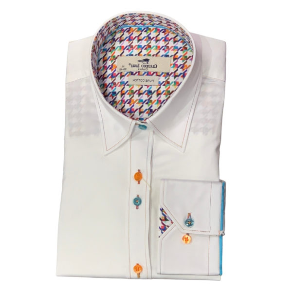 CLAUDIO LUGLI WHITE SHIRT WITH HOUNDSTOOTH INSERT