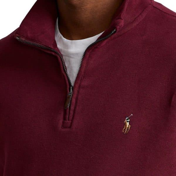 POLO RALPH LAUREN Burgundy estate rib HALF ZIP pullover 2
