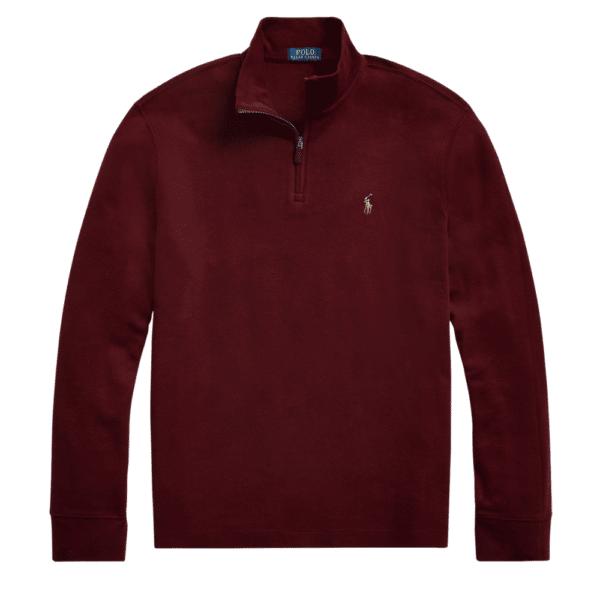 POLO RALPH LAUREN Burgundy estate rib HALF ZIP pullover