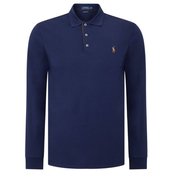 POLO RALPH LAUREN Navy long sleeve polo shirt