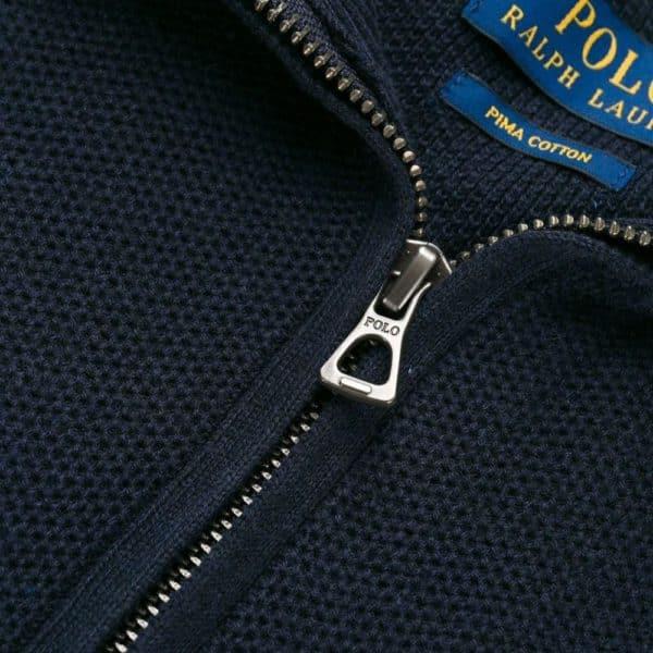 POLO RALPH LAUREN Vintage Navy Waffle HALF ZIP sweatshirt 1